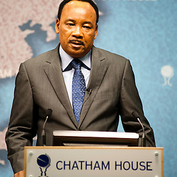 HE Mahamadou Issoufou, President of the Republic of Niger, speaks from the podium during the ?Niger?s Growing Regional and International Importance? conference at Chatham House.