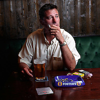 UK. Liverpool. Professional 'Streaker' Mark Roberts has a drink in a pub round the corner from Liverpool Docks..Photo©Steve Forrest/Workers' Photos