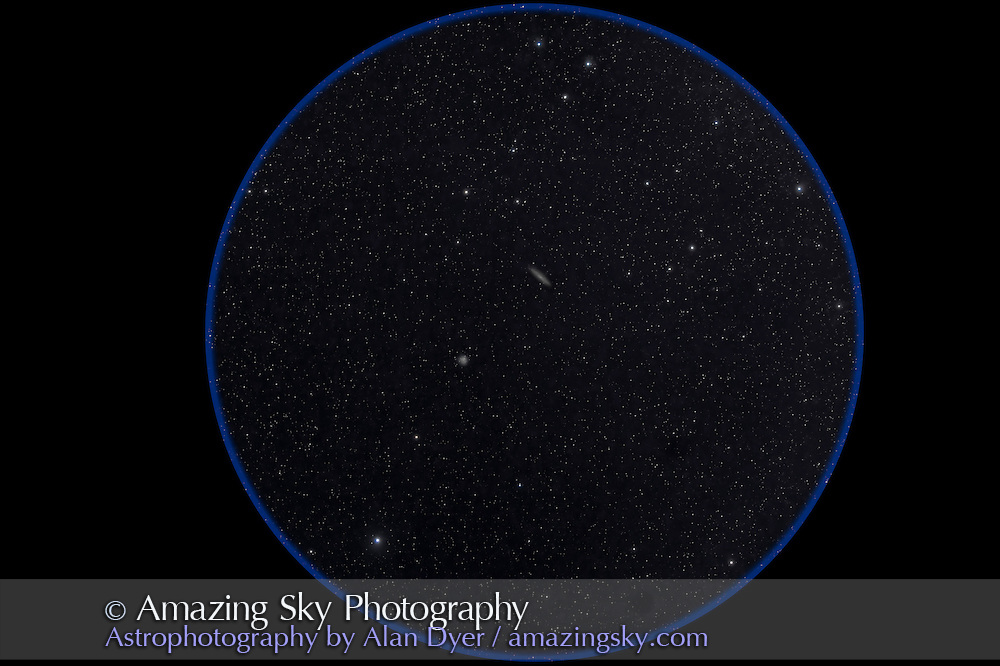 Large galaxy NGC 263 and globular cluster NGC 288, in Sculptor near the South Galactic Pole in an image with a 135mm telephoto lens to simulate the field of binoculars. Taken from Coonabarabran, Australia, December 16, 2012. This is a stack of 5 x 4 minute exposures at ISO 800 and f/2.8 with Canon 5D MkII.