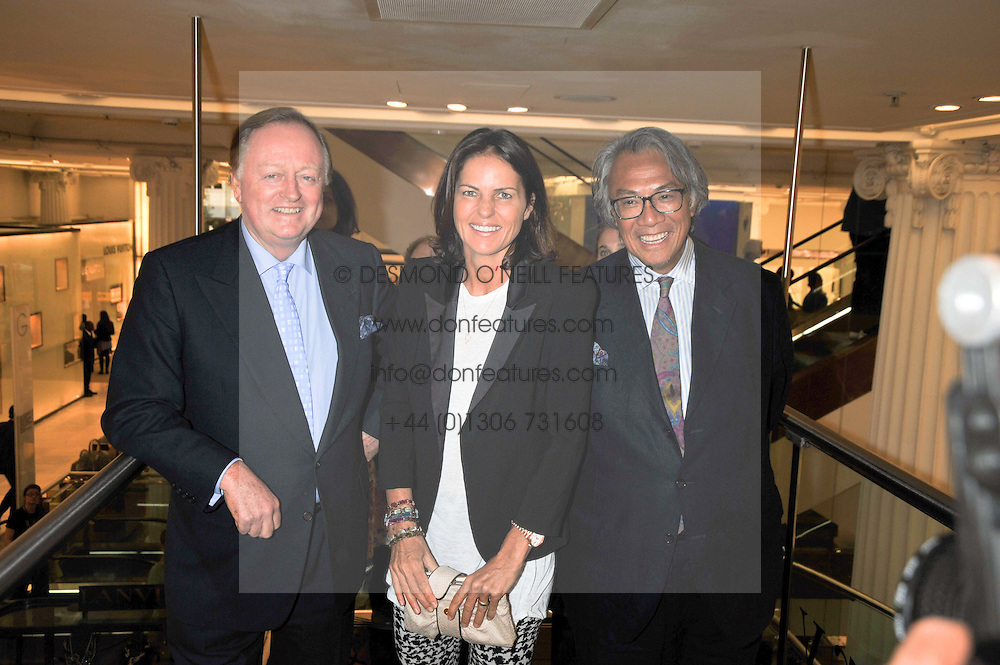 Left to right, ANDREW PARKER BOWLES and DAVID & LUCY TANGat the launch of Tom Parker Bowles's new book 'Full English' held in the Gallery Restaurant, Selfridges, Oxford Street, London on 9th September 2009.
