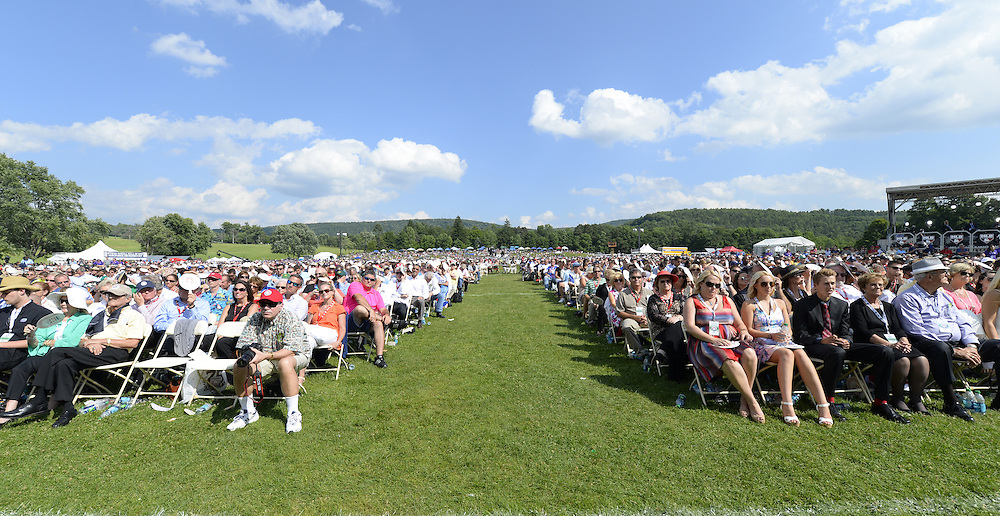 COOPERSTOWN, NY - JULY 27:  A general view of the estimated 48,000 fans in attendance during the 2014 HOF induction ceremonies held at the Clark Sports Center in Cooperstown, New York on July 27 2014.