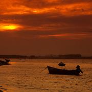 South America, Uruguay, Laguna Rocha at sunset; Lacustre National Park.