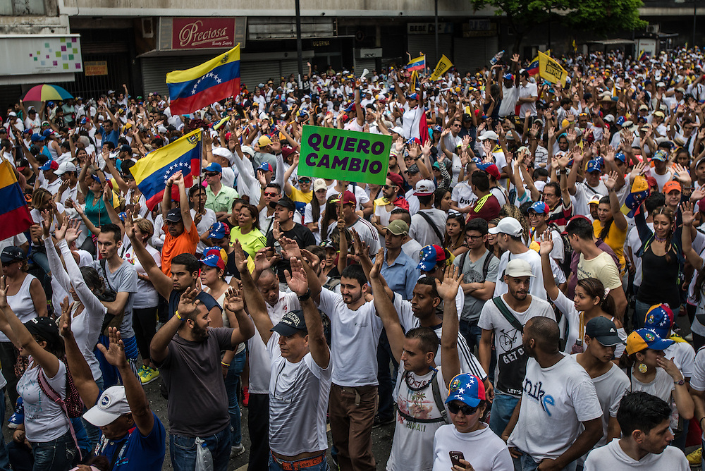 CARACAS, VENEZUELA - SEPTEMBER 1, 2016: Hundreds of thousands of Venezuelans marched in protest against the Socialist government and condition of their country today.  PHOTO: Meridith Kohut