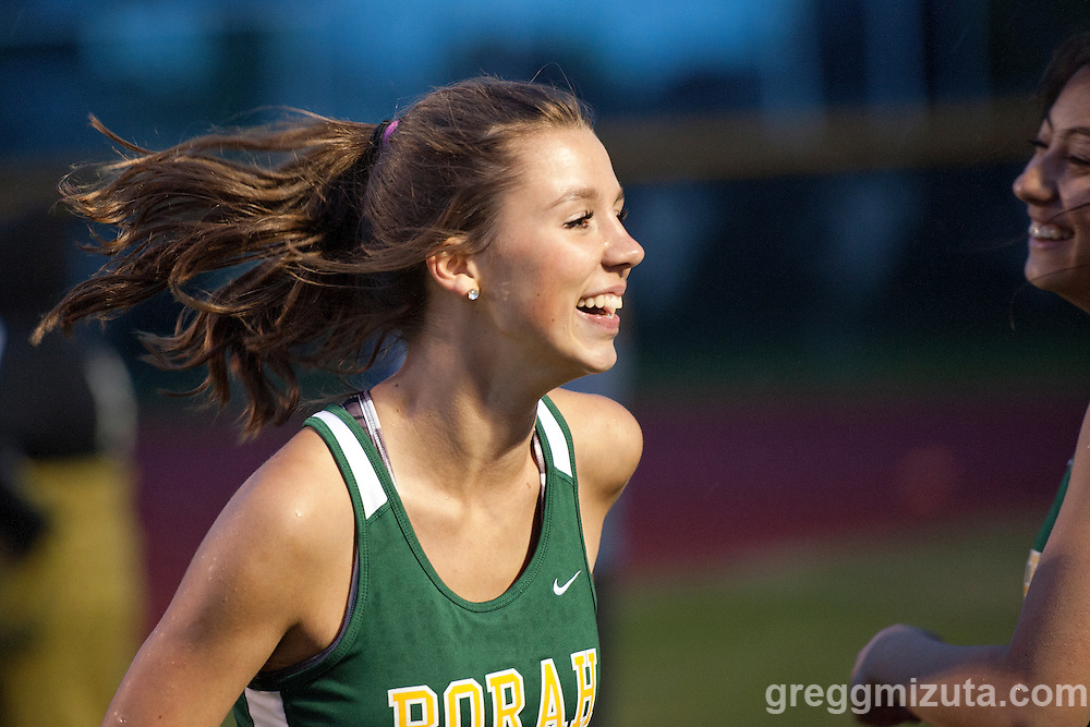 Borah's sprint medley relay member Katelyn Powell is all smiles following their runner-up finish at the YMCA Track &amp; Field Invitational at Mountain View High School, Meridian, Idaho. April 22, 2016<br />