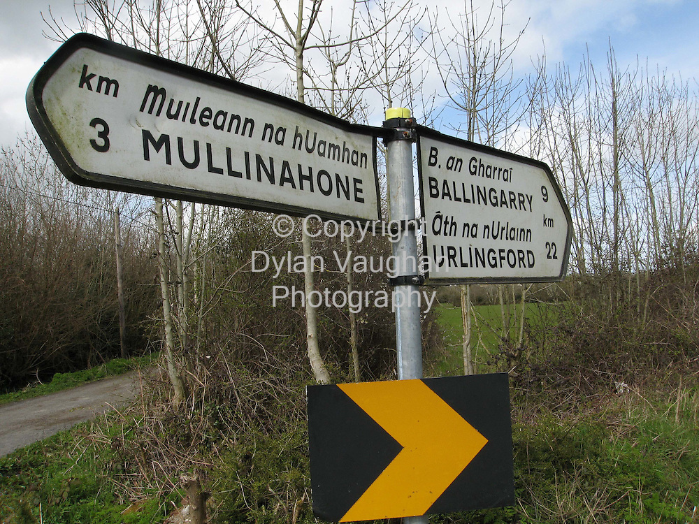 14/4/2006.Road signs on the road between in county Tipperary Mullinahone and Ballingarry..Picture Dylan Vaughan.