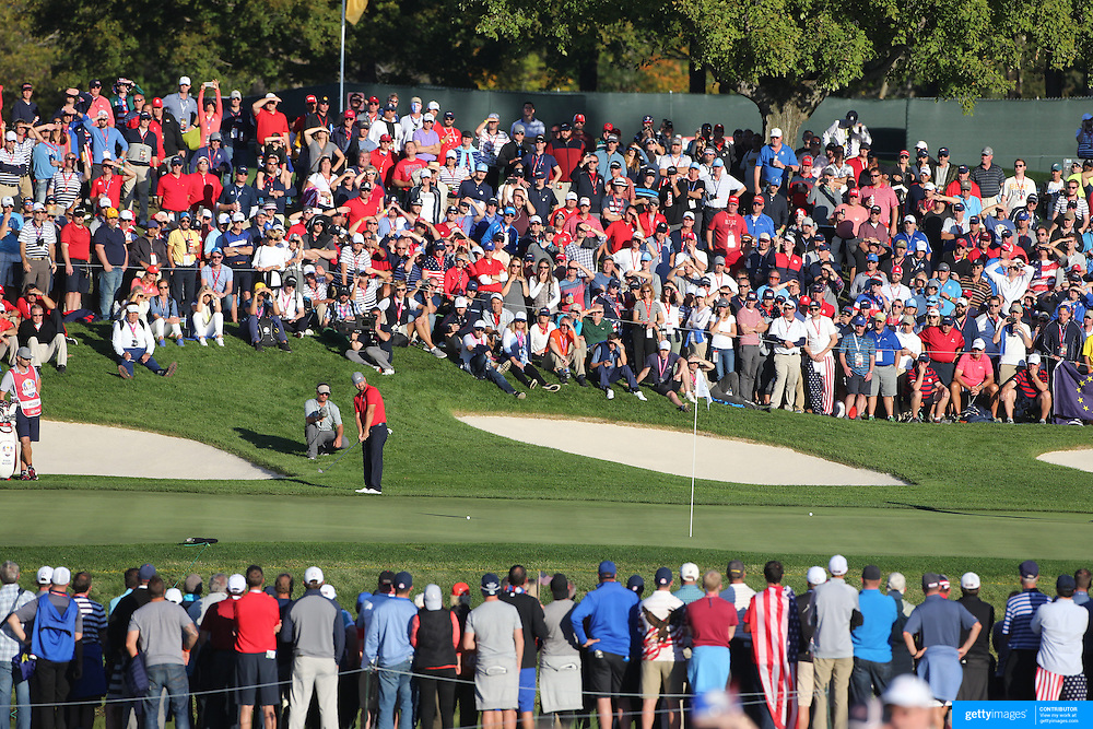 Ryder Cup 2016. Day One.  Ryan Moore of the United States chipping onto the sixteenth hole in the Friday afternoon four-ball competition during the Ryder Cup at  Hazeltine National Golf Club on September 30, 2016 in Chaska, Minnesota.  (Photo by Tim Clayton/Corbis via Getty Images)