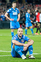 ROTTERDAM - Feyenoord - AZ , Voetbal , Seizoen 2015/2016 , Halve finales KNVB Beker , Stadion de Kuip , 03-03-2016 , AZ speler Ron Vlaar baalt want hij veroorzaakt penalty