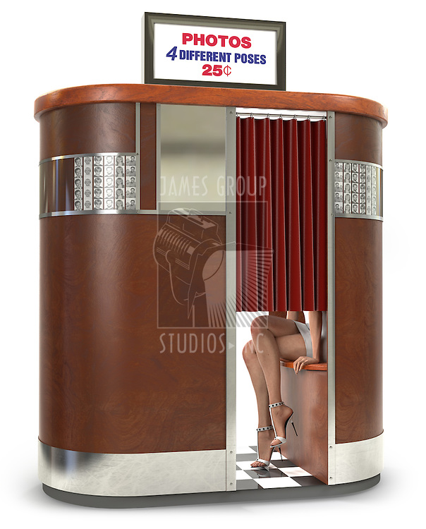 1950s style photo booth vending machine on a whiote background with clipping path