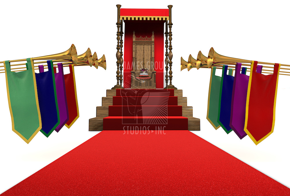 Red carpet flanked by trumpets leading to a throne with a crown resting on a pillow