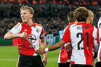 ROTTERDAM - Feyenoord - AZ , Voetbal , Seizoen 2015/2016 , Halve finales KNVB Beker , Stadion de Kuip , 03-03-2016 , Speler van Feyenoord Dirk Kuyt viert het doelpunt met de supporters