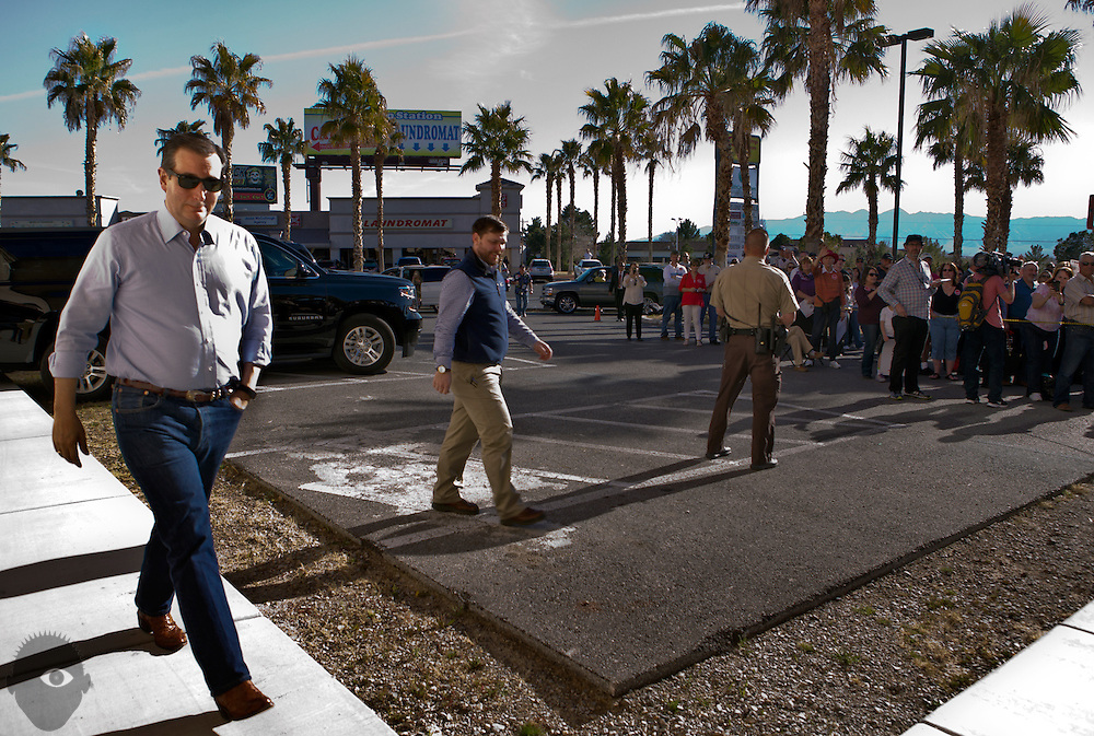 Republican presidential candidate Ted Cruz walks on up to the stage in Parhump for a rally at the Draft Picks Sports Bar on Sunday, February 21, 2016.   L.E. Baskow