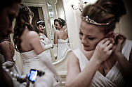 Debutantes in their dressing room, getting ready for the opening dance at The Viennese Opera Ball. The VOB is the biggest and most famous of New York's charity balls. Held yearly at the Waldorf Astoria Hotel.