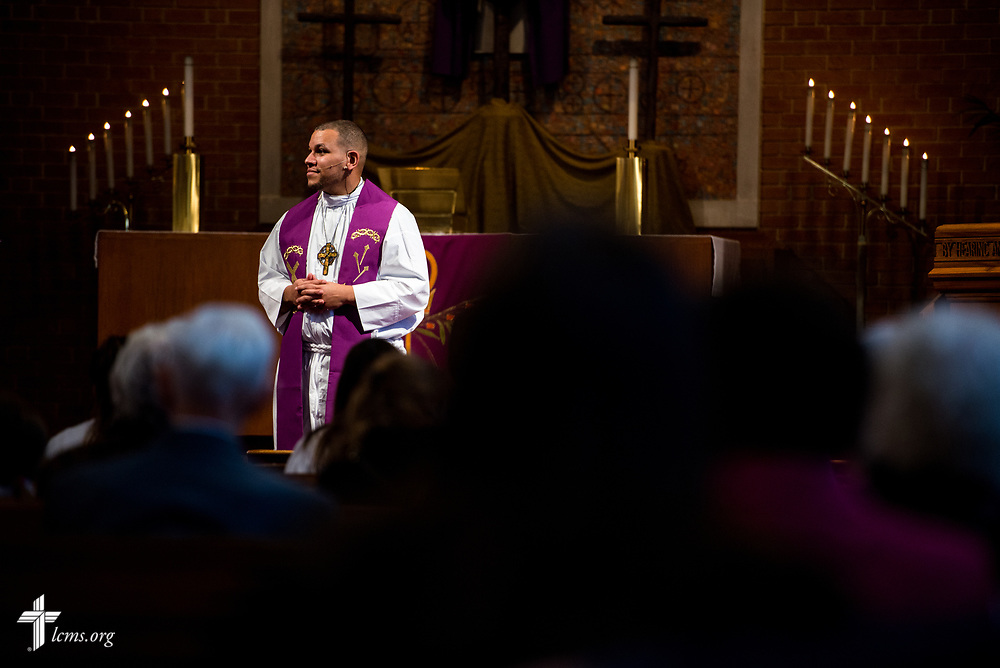 The Rev. Micah Glenn, national missionary to Ferguson, Mo., prepares to preach in Divine Service following a presentation to supporters before worship at Trinity Lutheran Church on Sunday, April 2, 2017, in Cape Girardeau, Mo. LCMS Communications/Erik M. Lunsford