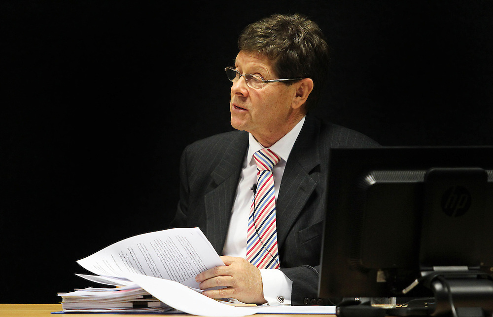 "Dr Alan Reay giving evidence at the Royal Earthquake Commission inquiry into the collapse of the CTV building, Christchurch, New Zealand, Tuesday, July 31, 2012. Credit:SNPA / The Press, Kirk Hargreaves  ""POOL"""""