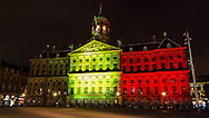 AMSTERDAM - The Royal Palace was lit in the colors of the Belgian flag for the bombings in Brussels today. copyright Robin Utrecht/lukadekruijf  <br /> AMSTERDAM - Het Paleis op de Dam werd verlicht in de kleuren van de Belgische vlag vanwege de aanslagen in Brussel van vandaag. copyright robin utrecht