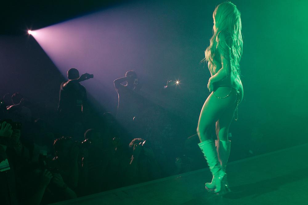 Sao Paulo, Brazil, Thursday - March 22, 2012: Jack Kirteen during her strip tease at Erotika Fair, in Sao Paulo.     (photo: Caio Guatelli)