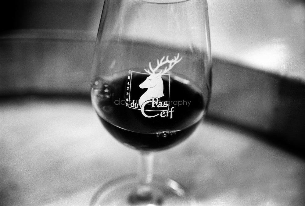 A glass of red at the Chateau du pas du Cerf, La londe, France