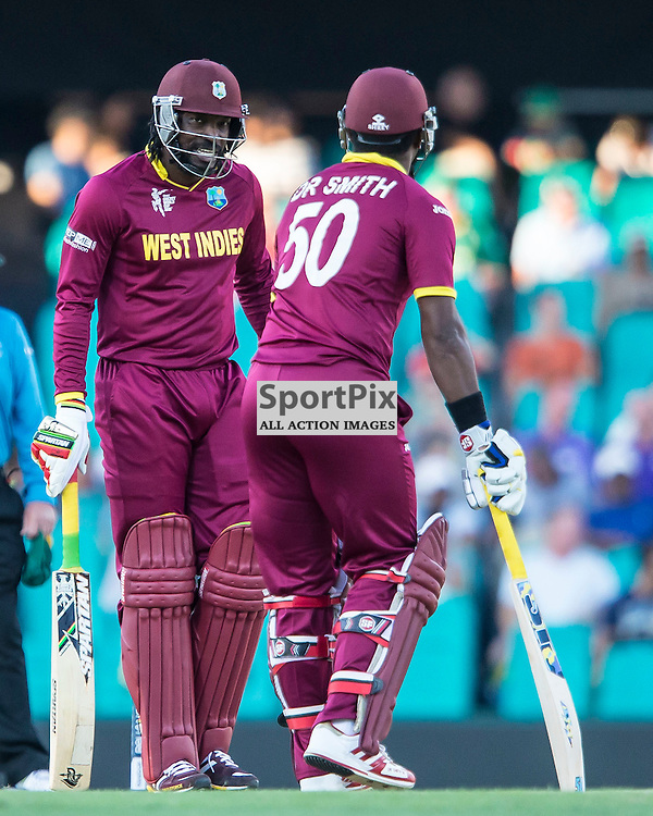 ICC Cricket World Cup 2015 Tournament Match, South Africa v West Indies, Sydney Cricket Ground; 27th February 2015<br /> West Indies Chris Gayle has a chuckle with West Indies Dwayne Smith