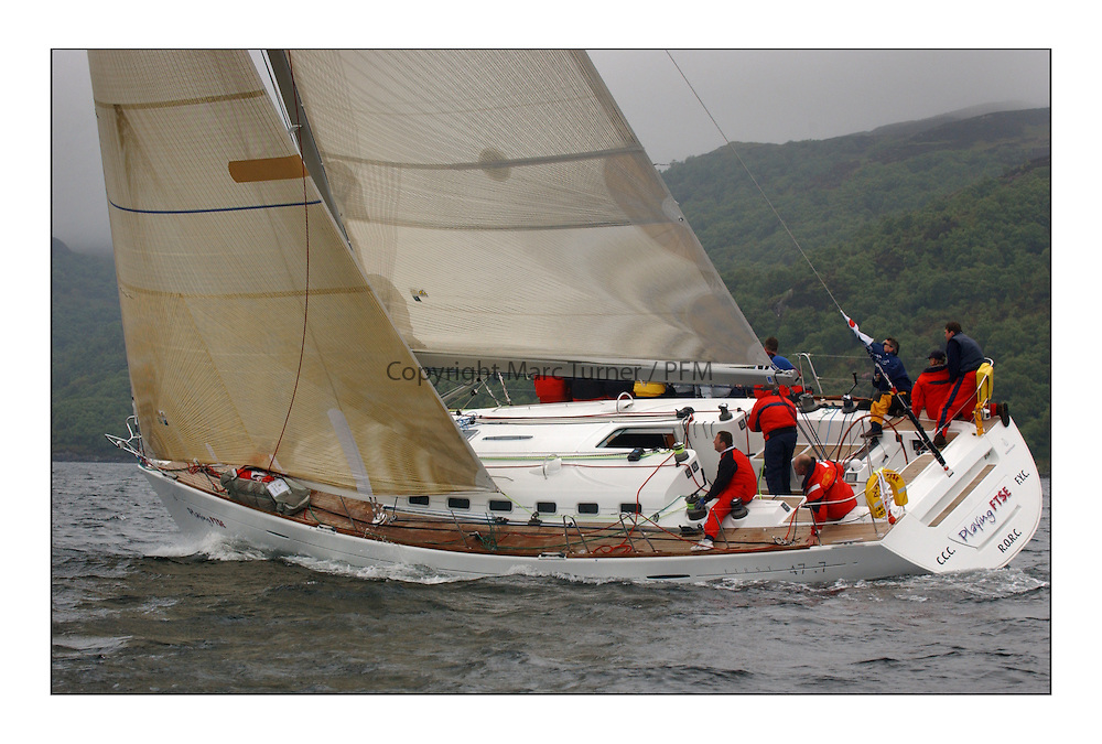 Yachting- The last days racing  of the Bell Lawrie Scottish series 2003 at Tarbert Loch Fyne.  Damp grey skies and light winds decided the final results in most fleets...Jonathan Anderson's Playing FSTE a First 47.7 in Class One...Pics Marc Turner / PFM