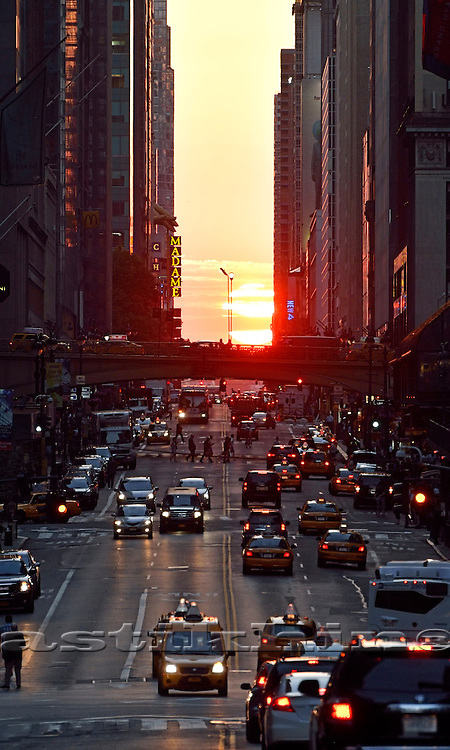 Sunset on 42nd Street, Manhattan, NYC.