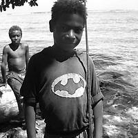 'Superhero' T-shirt fashion, near Kimbe, West New Britain Island, Papua New Guinea, Wednesday 24th September 2008.