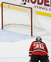 Feb 26, 2009; Newark, NJ, USA; New Jersey Devils goalie Martin Brodeur (30) rests during the first period of his game against the Colorado Avalanche at the Prudential Center.