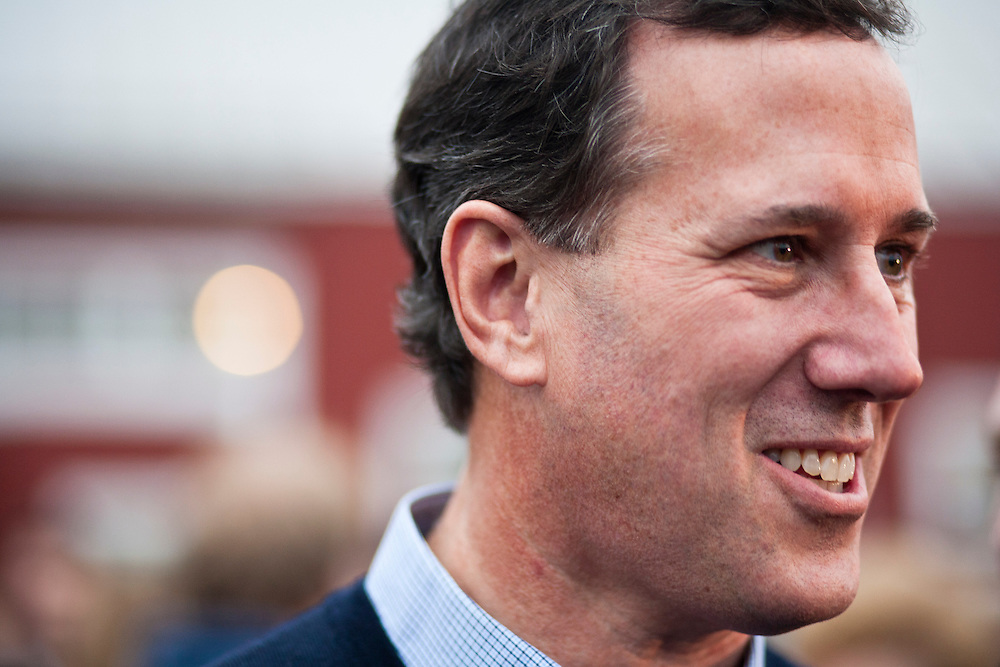 Republican presidential candidate Rick Santorum leaves after hosting a town hall meeting at Lawrence Barn on Saturday, January 7, 2012 in Hollis, NH. Brendan Hoffman for the New York Times