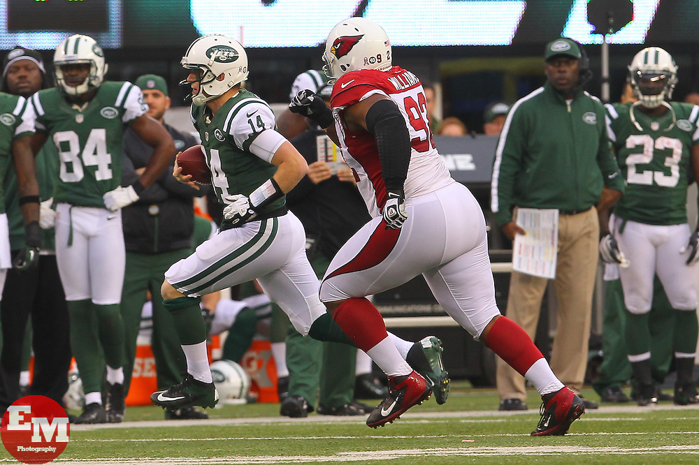 Dec 2, 2012; East Rutherford, NJ, USA; New York Jets quarterback Greg McElroy (14) runs for a first down while being chased by Arizona Cardinals defensive end Calais Campbell (93) during the second half at MetLIfe Stadium.