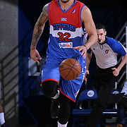 Delaware 87ers Forward Drew Gordon (32) drives dribbles the ball up court in the first half of a NBA D-league regular season basketball game between the Delaware 87ers and the Grand Rapids Drive (Detroit Pistons) Saturday, Apr. 04, 2015 at The Bob Carpenter Sports Convocation Center in Newark, DEL.
