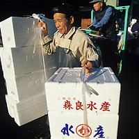 Japan, Tokyo, Worker carrying boxes at crowded Tsukiji Fish Market