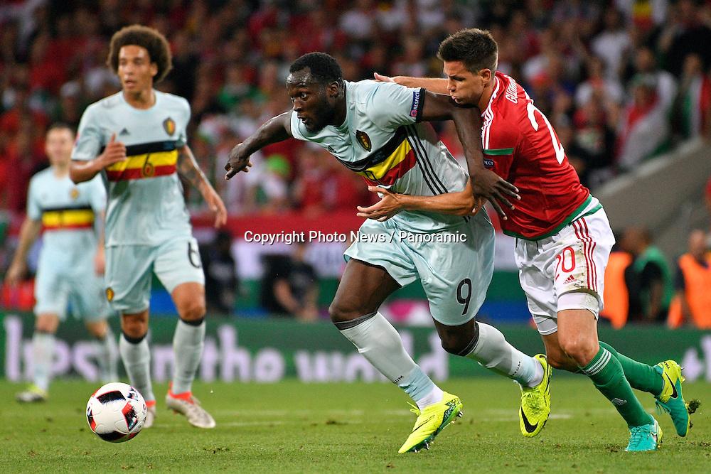 TOULOUSE, FRANCE - JUNE 26 : Romelu Lukaku forward of Belgium battles for the ball with Richard Guzmics defender of Hungary