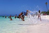 Acrobatics on the beach in Guadalavaca, Holguin, Cuba.