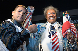 March 2, 2006 - New York, NY - WBC Junior Middleweight Champion Ricardo Mayorga (l) poses with promoter Don King (r) at the NY press conference announcing his May 6th title defense against Oscar DeLaHoya.  The fight will take place in Las Vegas.