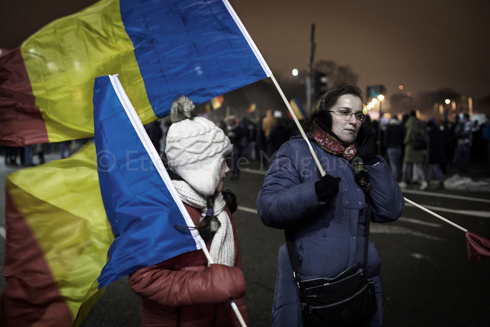 Protesters gathered in front of the government headquarters at the Victory square are now demanding resignation of PM Sorin Grindeanu. 11 February 2017.