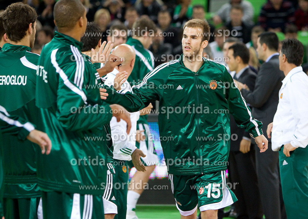 Nick Chalates of Panathinaikos  during basketball match between KK Union Olimpija (SLO) and Panathinaikos (GRE) in Group D of Turkish Airlines Euroleague, on November 4, 2010 in Arena Stozice, Ljubljana, Slovenia. Union Olimpija defeated Panathinaikos 85-84. (Photo By Vid Ponikvar / Sportida.com)