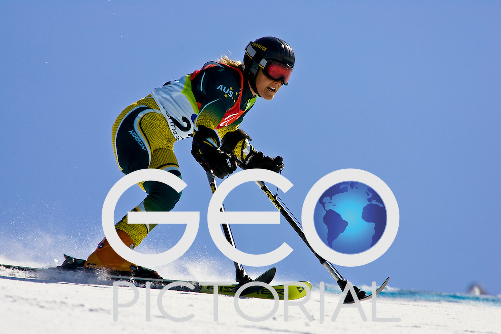 SESTRIERE COLLE, ITALY - MARCH  16th : Emily Jansen (LW2) of Australia on her second run of the Womens Alpine Skiing Giant Slalom Standing competition on Day 6 of the 2006 Turin Winter Paralympic Games on March 16th, 2006 in Sestriere Borgata, Italy.