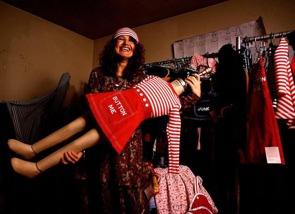 Betsey John fashion designer in her studio in 1990.  Taken with a 35 mm Nikon FM.