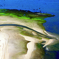Aerial view of shoreline Aerial views of artistic patterns in the earth.