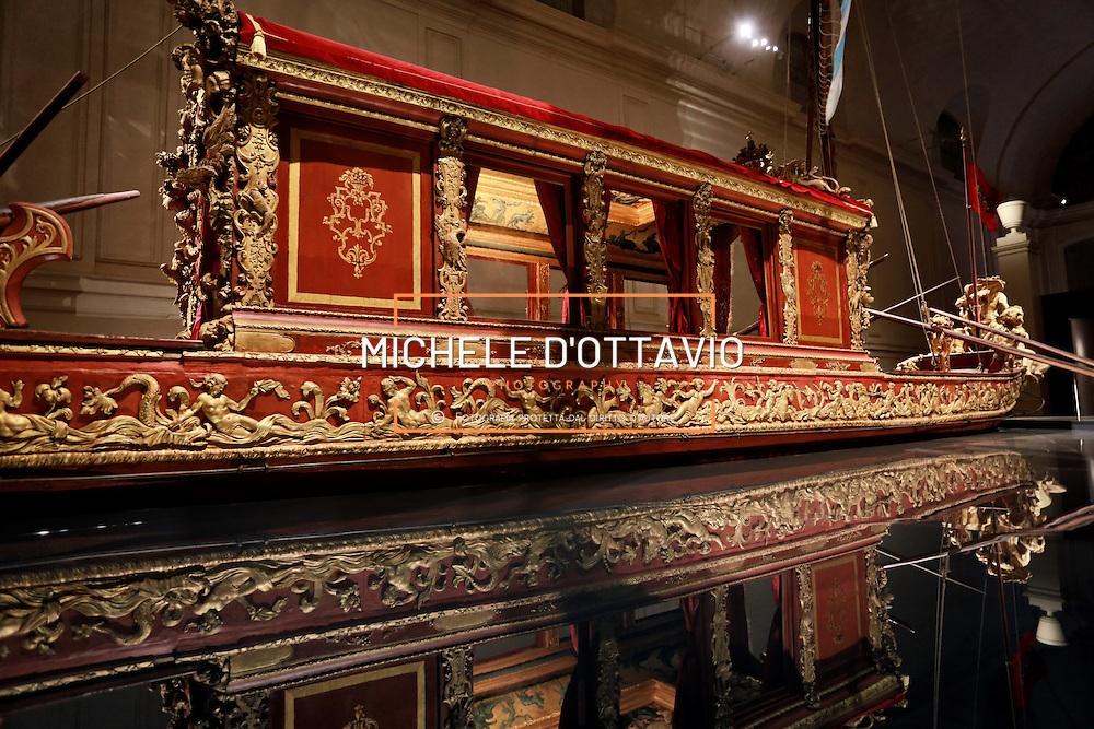 """Il settecentesco Bucintoro dei Savoia , """"La Barca Sublime"""", esposta alla Reggia di Venaria nel nuovo allestimento firmato dall'architetto Gianfranco Gritella"""
