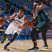 Delaware 87ers Forward SHANE EDWARDS (13) past defender Greensboro Swarm Forward Devin Williams (30) in the first half of an NBA D-league regular season game between the Delaware 87ers and the Greensboro Swarm (Charlotte Hornets) Wednesday, March 29, 2017, at The Bob Carpenter Sports Convocation Center in Newark, DEL