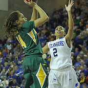 George Mason Guard Melissa Collier (14) takes a jump shot in the second half of a regular season NCAA basketball game against Delaware Thursday, Jan 10, 2013 at the Bob Carpenter Center in Newark Delaware...Delaware (10-3; 1-0) defeated George Mason (5-8; 0-2) 62-27..Delaware is riding a four-game winning streak after defeating George Mason, St. John's in over- time on Jan. 2 Villanova (Dec. 29) and Duquesne (Dec. 30) to capture the 2012 Dartmouth Blue Sky Classic title.