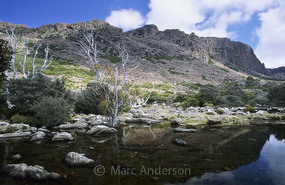 Mountainous countryside & an alpine tarn, Ben Lomond National Park, Tasmania