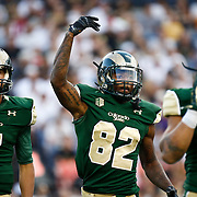 SHOT 9/19/15 6:06:01 PM - Colorado State's Rashard Higgins #82 tries to fire up the crowd against Colorado during the Rocky Mountain Showdown at Sports Authority Field at Mile High in Denver, Co. Colorado won the game 27-24 in overtime. (Photo by Marc Piscotty / © 2015)