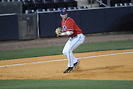 Ole Miss' Preston Overbey(1) throws to second for a force out at Oxford-University Stadium in Oxford, Miss. on Wednesday, March 2, 2010.