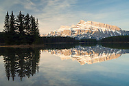 Mount Rundle at sunrise from Two Jack Lake, Banff National Park, Alberta, Canada