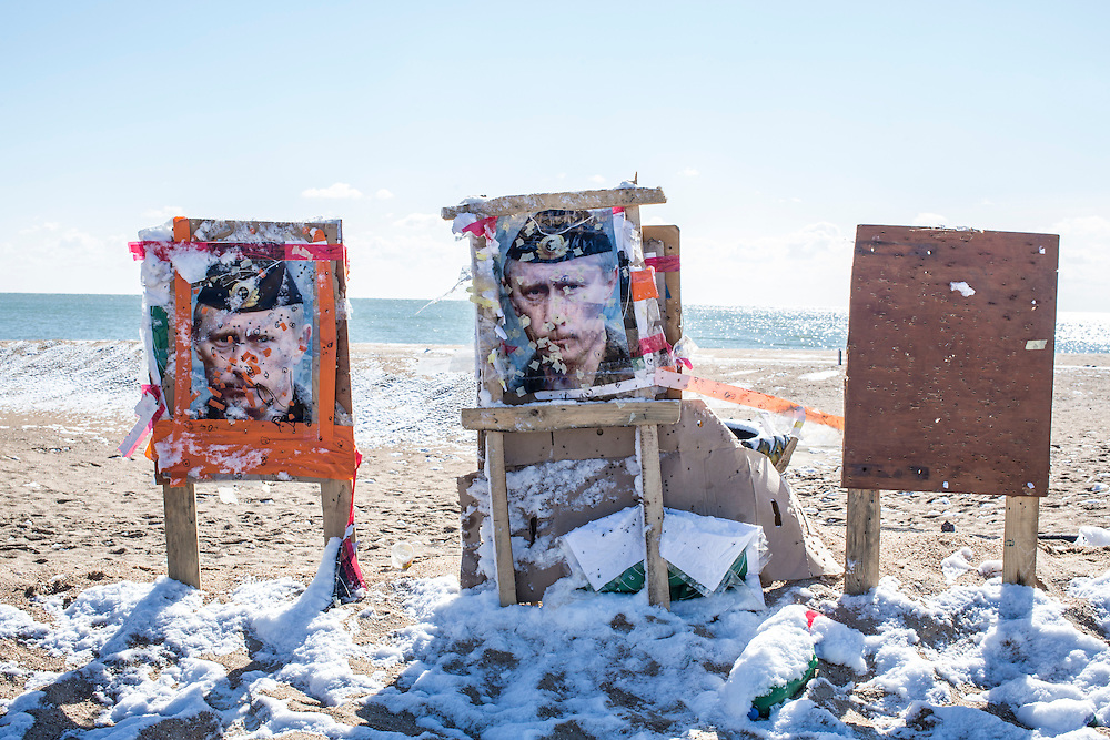 A picture of Russian President Vladimir Putin used for target practice at the base of the Donbass Battalion on Sunday, March 20, 2016 in Melekyne, Ukraine.