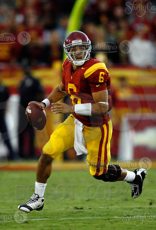 4 October 2008: Starting Quarterback #6 Mark Sanchez throws the ball during NCAA College Football Pac-10 conference USC Trojans 44-10 win over the University of Oregon Ducks at the Los Angeles Memorial Coliseum in Los Angeles, California.