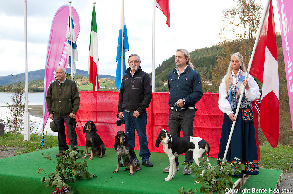 The team from Switzerland. From left: Leo Duschen with luzerner laufhund Diana von Clus (nr. 5), Walter Jäger with luzerner laufhund Eika v. Weisshorn (winner of the Cup), and Giovanni Brumama with berner laufhund Clue la Resege Nuoua.