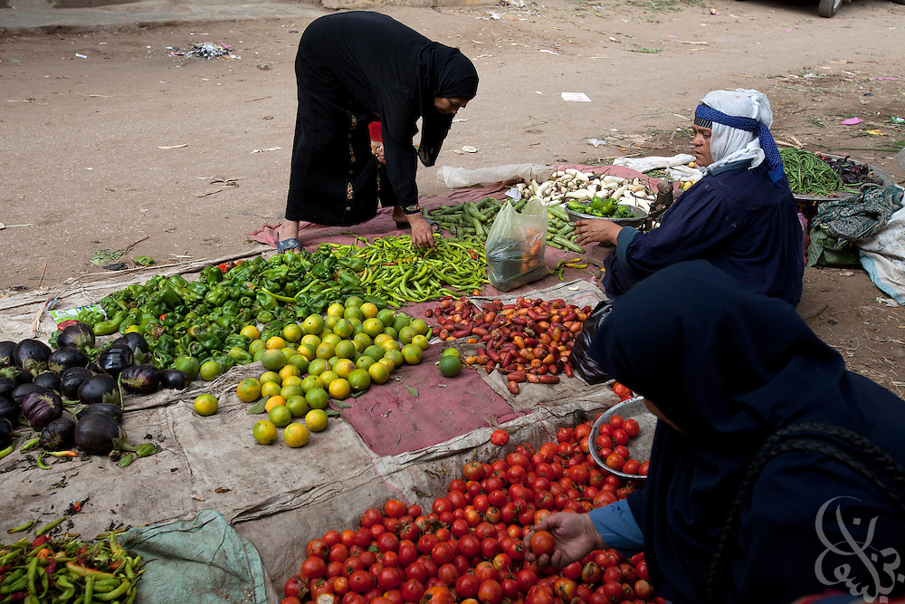Egyptian women buy and sell vegetables October 27, 2011  in village of Warwara. Warwara is located just outside the Delta town of Benha, about 50 kilometers north of Cairo. (Photo by Scott Nelson)