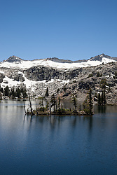 """Heather Lake 2"" - Photograph of a small island in Heather Lake along the Pacific Crest Trail in the Tahoe Desolation Wilderness."